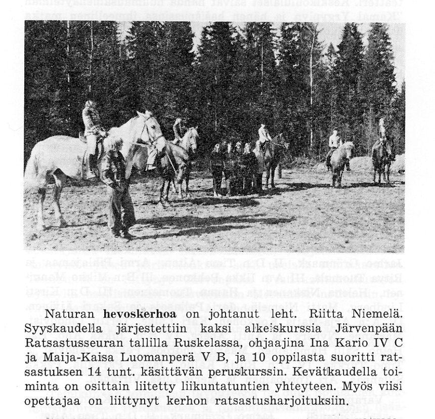 hevoskerhon toiminnasta
