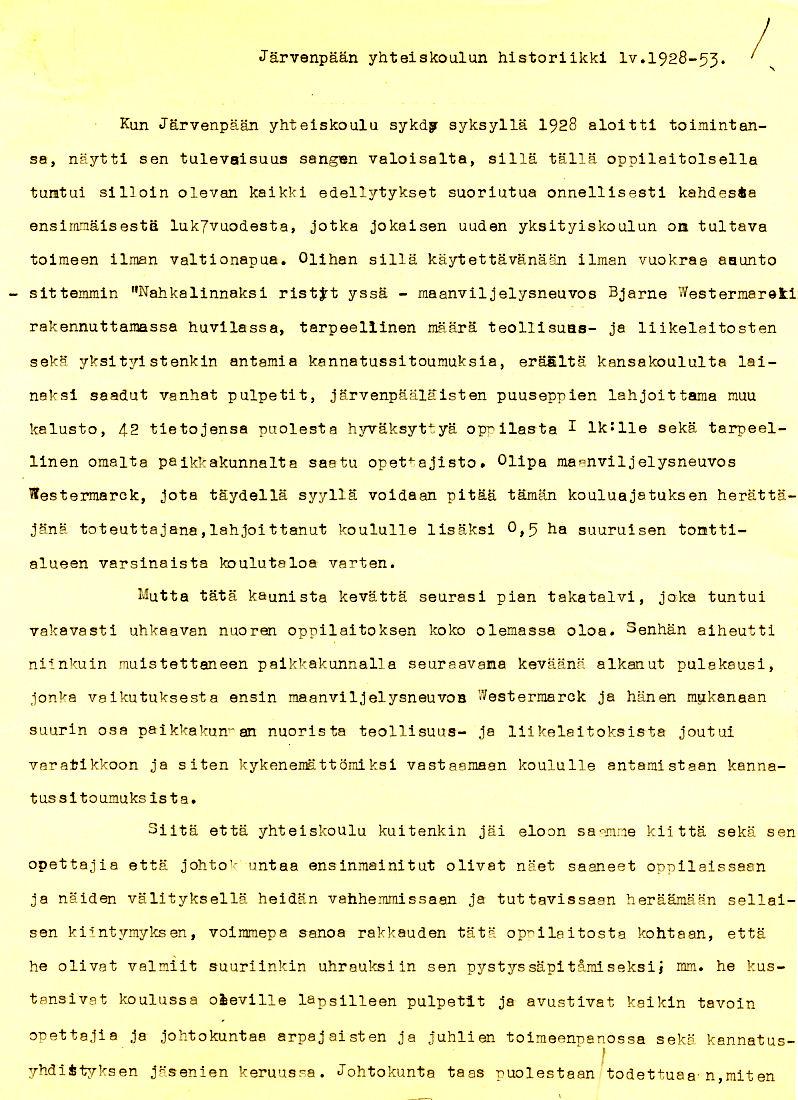 Sivu 1 historiikista 1928-53