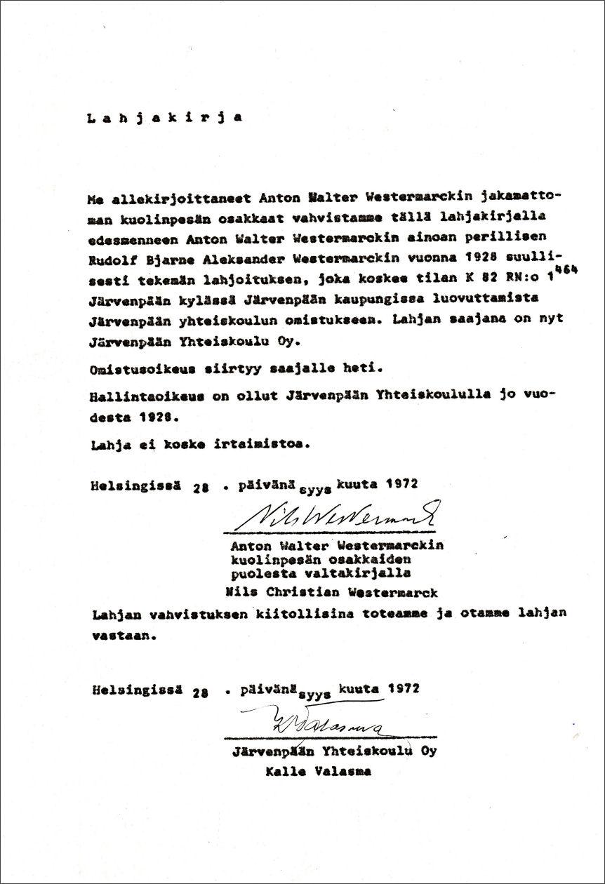 Lahjakirja 28.9.1972