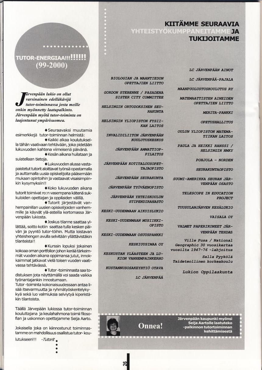Tutorit 1999-2000 vuosikertomuksessa